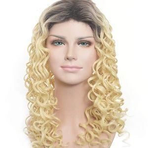 "Blonde Ombre Wavy Dark Root Curly Wig 23"""